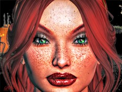 Fire in her eyes (Lofty Lemur(Taking clients)) Tags: redhead freckles greeneyes secondlife