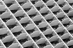 Hotel Living (Karen_Chappell) Tags: hotel architecture bw black white grey abstract pattern geometry geometric building travel oahu hawaii waikiki balcony balconies railing blackandwhite monochrome curves curve lines line repetetion tilt angle usa city urban