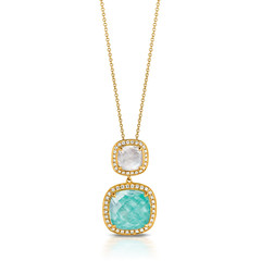 18k Yellow Gold Diamond Pendant With Clear Quartz Over White Mother Of Pearl Top And Clear Quartz Over Amazonite Bottom (diamondanddesign) Tags: 18kyellowgolddiaomondpendantwithclearquartzoverwhitemotherofpearltopandclearquartzoveramazonitebottom p6836azmp 18k yellow gold amazon breeze doves pendants 029 ct diamond clear quartz over amazonite white mother of pearl front