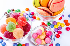 In glass bowls gum, jelly and marmalade colored sweets (wuestenigel) Tags: hard sugar color different bonbon background orange red mix delicious candy assortment heart yellow white jelly group lolly macaroons confection closeup lollypop blue food holiday texture birthday dessert marmalade colorful sweet dark lollipop lollipops top candies cookies green many fruit confectionery childhood