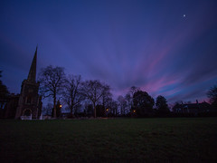 Is God Hidding In The Sky? (RS400) Tags: cool wow bristol frenchay church travel tree trees local southwest photography night time landscape outside sky clouds moon grass olympus uk blue long exposure shutter speed orange cold
