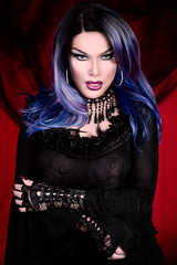 Gothic glamour portrait (Juliapanther Over 63 million views, thanks!!!) Tags: julia juliapanther panther goth gothic lace velvet amanda richards top feather gloves lips lipstick tgirl makeup mac makeover dark nails portrait choker glamour posing model pinup beauty sensual eyes