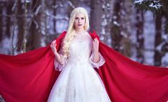 Winter's Bride 2 (Lunalle) Tags: cape hood queen snow portrait blonde bride winter white red