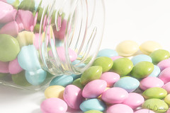 Pastel Sweets (Ian Charleton) Tags: macromondays pastel candy candies sweets sweet jar food glass highkey macro closeup whitebackground easter twolight