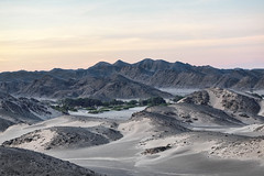 Dawn at Charlie's Lookout (Trouvaille Blue) Tags: africa namibia hoanib dawn sand trees mountains trouvailleblue