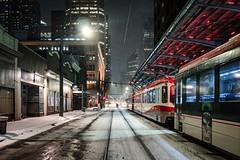 Freezing streets, Calgary (reinaroundtheglobe) Tags: calgary alberta canada transport tram street streetphotography night nightphotography longexposure snow winter reiniersnijders reinaroundtheglobe