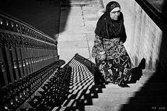 Rue Saint-Laurent (pfrederic) Tags: monochrome kodak nikon escalier street nb film shadow grenoble france stairs f4 rue noiretblanc passerby