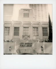 LA Public Library (tobysx70) Tags: the impossible project tip polaroid bw blackandwhite expired instant film for sx70 type cameras impossaroid la public library south hope street dtla downtown los angeles california ca central tiled mosaic pyramid bertram goodhue building architect 1926 egyptian mediterranean rivival architecture books usbank tower skyscraper highrise toby hancock photography