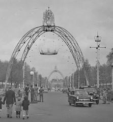 The Coronation Decorations (vintage ladies) Tags: vintage blackandwhite photograph photo man male car cars themall london