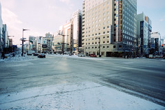 Empty (OzGFK) Tags: 35mm cinestill cinestill50d cinestillfilm japan analog film pushed3stops travel hokkaido sapporo snow winter cold cbd city empty morning nikonfm2n nikon tokina17mm f35