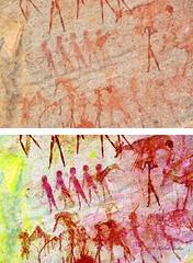 8978 - EKUTA   PENTIMENTI (Übermalung) (HerryB) Tags: 2013 southafrica southwest afrique afrika africa namibia südwest sonyalpha77 slr heribertbechen tamron alpha bechen fotos photos photography sony herryb rockart rockpaintings peintres rupestres petroglyph san zeichnungen felszeichnungen höhlenmalerei paintings bushmen buschmänner dstretch harman jon jonharman enhance falschfarben restauration digitalenhanced enhancement verwitterung granit granite enhanced ekuta abri halbhöhle überhang aiaiba hinterholzer erongo erongogebirge pentimenti