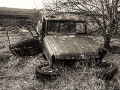 the lost scout.... (BillsExplorations) Tags: monochromemonday monochrome sepia hmm international scout oldtruck vintagetruck rust decay ruraldecay abandoned abandonedillinois abandonedtruck abandonedfarm