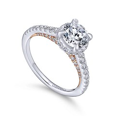 Slim Engagement Ring Crafted From 14k White Gold And Accented With Petite Round Diamonds Hiding in 14k Rose Gold (diamondanddesign) Tags: slimengagementringcraftedfrom14kwhitegoldandaccentedwithpetiterounddiamondshidingin14krosegold er13824r4t44jj bridal rd engagement rings gbbr 65 067 ct gabriel ny diamond 14k white gold rose quarter