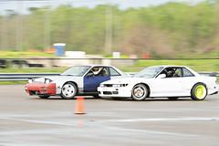 Door To Door (Find The Apex) Tags: nolamotorsportspark nodrft drifting drift cars automotive automotivephotography nikon d800 nikond800 nissan 240sx nissan240sx s13 tandemdrift tandem tandemdrifting tandembattle