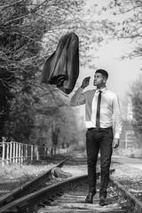 Life On The Road (sdupimages) Tags: portrait street railroad jacket veste pause man homme bw nb monochrome shooting urbex