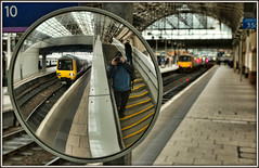 Piccadilly and me (david.hayes77) Tags: manchester gcr greatcentralrailway greatermanchester class323 323226 selfie reflection mirror 2019 piccadilly arty northern bokeh me 2g13