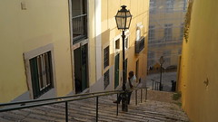 lisbon talk [explored] (petergrossmann) Tags: portugal lisboa lisbon street yelllow staircase explore