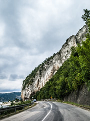 Route alongside the Danube river leading to Golubac fortress in Serbia