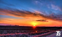 1/3 Winter Sunset over Northern Hardin County, IA near Iowa Falls, IA 12-25-18 (KansasScanner) Tags: iowafalls iowa up train railroad sunset sunrise