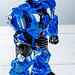 Blue robot toy on white background