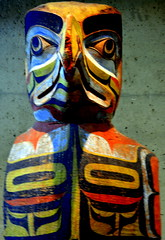 WEST COAST NATIVE ART, CARVED WOOD TOTEMS, UNIVERSITY UBC, VANCOUVER. BC. (vermillion$baby) Tags: nativeart art carvng color firstnations westcoast wood artsculpture native pacificnorthwest artofnorthamerica artofnativenorthamerica museum carving sculpture woodcarving museums artofthenative nativeamerican indian gallery vivid aborigine