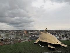 Bronze tortoise sculpture, view to Meuse River, Citadelle, Namur, Belgium (Paul McClure DC) Tags: namur namen belgium belgique wallonia wallonie feb2018 scenery castle citadel river modern sculpture meuse maas ardennes