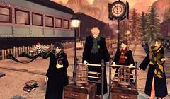 Platform 9th 3/4 (Chiaki♪) Tags: secondlife harrypotter movie friends bff wizard magic school theme platform train sun sunset clock housesystem gryffindor hufflepuff ravenclaw slytherin hogwarts london uk sl