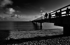 sunday stroll (liebeslakritze) Tags: sonntagsspaziergang contrasts bw blackwhite monochrome seebrücke ostsee balticsea