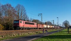 Wettrennen (Klaus Z.) Tags: eisenbahn kbs 395 leer br 155 güterzug mischer db cargo frühling