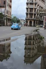 reflection (Jackal1) Tags: havana cuba car blue puddle reflection builing city street canon