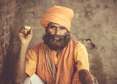 honey power (andy_8357) Tags: varanasi honey power man turban hindu hinduism sadhu ganges india uttar pradesh beard moustache ilce6000 a6000 6000 alpha canon fd 50mm f14 strong relaxed street portrait portraiture photography