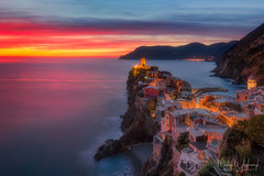 Vernazza (Michał.Włodarczyk) Tags: to do sea rocks water sky clouds sunset lights town beautiful nice italy cinque terre