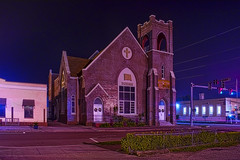 Heritage Baptist Church, 27 N Polk Avenue, Arcadia, Florida, USA / Built: 1907 / Architectural Style: Romanesque Revival (Photographer South Florida) Tags: arcadia city cityscape urban downtown skyline desotocounty florida smallcity centralbusinessdistrict historical building architecture commercialproperty cosmopolitan metro metropolitan metropolis sunshinestate realestate nationalregisterofhistoricplaces pristine history streets quaint citycenter arcadiahistoricdistrict theoldoperahouse stateroute70 us17 antiquedistrict ong longexposure heritagebaptistchurch 27npolkavenue usa built1907 romanesquerevival