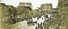 northeast to Centre Street from Park Row ca. 1905 [ City Hall Park and Brooklyn Bridge Terminal Station] (over 17 MILLION views Thanks) Tags: newyorkcity manhattan parkrow geophallson streetscenes streetcars horses