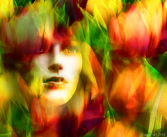 Enchanted by Tulips (Lemon~art) Tags: flowers tulips mannequin face enchanted red green manipulation yellow spring