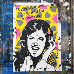 Without music... (id-iom) Tags: girl headphones listen music withoutmusic sickbeat tune art painting paint stencil modern contemporary urban pop life modernart contemporaryart popart urbanart