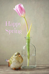Happy Spring! (Through Serena's Lens) Tags: indoor pink flora naturallight happyspring text figurine ceramic bird glass bottle tulip flower closeup tabletop stilllife