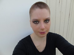 Outside after haircut. (Babyphoneshout) Tags: sharon miedema shayn bald girl short fade buzzed