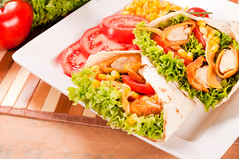 Tasty chicken wrap (Cascadevacationrentals) Tags: above bread breadedchicken cafe cheese chicken closeup crockery deli delicatessen eating evening fastfood fat flat folded food foodbackground green healthy junkfood lettuce lifestyle macro mayonnaise meal meat melted midday object onion organic paper pepper photography pitta plate poultry restaurant salad sandwich snack tasty tomato turkey unhealthyfood white whitemeat wrap yummy
