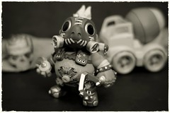 'Road Hog' (N.the.Kudzu) Tags: tabletop toys funkopop vinyl figure roadhog steampunk skull truck canoneosm 7artisans35mmf12 photoscape monochrome frame home