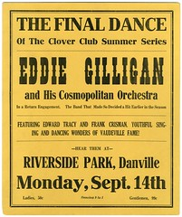 Eddie Gilligan and His Cosmopolitan Orchestra, Riverside Park, Danville, Pa., Sept. 14, 1925 (Alan Mays) Tags: ephemera posters placards broadsides handbills leaflets notices fliers flyers circulars advertising advertisements ads cardboard paper printed eddiegilligan cosmopolitan cosmopolitanorchestra gilligan edwardgilligan orchestras dancebands bands jazz musicians music cloverclub clubs groups organizations dances dancing tracy edwardtracy crisman frankcrisman singers vaudeville yellow borders riverside riversidepark parks danville pa montourcounty pennsylvania september14 1925 1920s old vintage typefaces type typography fonts