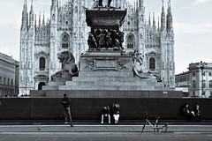Milano (lorenzog.) Tags: milano piazzaduomo people 50mm italy blackandwhite nikon d700 milan mobike