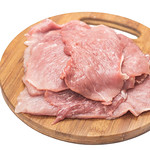 Raw Pork Meat on the wooden board above white background thumbnail