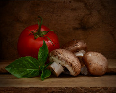 Earthy Goodness (njk1951) Tags: tastyinspiration earthygoodness vegetables mushrooms fungi tomato redtomato basil basilico stilllife oldwood red green food