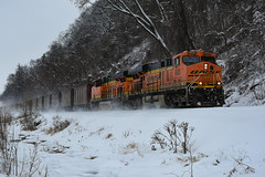 Gevo's kicking up snow. (Machme92) Tags: bnsf burligrton ge gevo railroad railfanning railfans railroads rails rail row railroading railfan nikon snow winter missouri