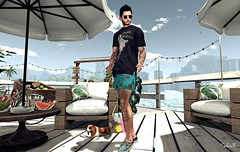 Bora Bora (Sadwolf SL Photos) Tags: chucksize nativeurban equal10 tmd sneakers shorts beach tshirt shades glasses dog slfashion slblogger avatar mesh bento pose slphotographer