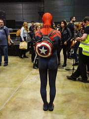 Carrying Captain America's Backpack (Steve Taylor (Photography)) Tags: spiderman captainamerica dayglovest blue black red green brown people newzealand nz southisland canterbury christchurch armageddonexpo costume