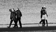 Seaside Strolling 09 (byronv2) Tags: edinburgh edimbourg scotland sea seaside coast coastal peoplewatching candid street walking water river rnbforth firthofforth riverforth forth portobello blackandwhite blackwhite bw monochrome man