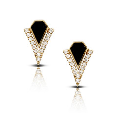 14k Yellow Gold Covered With Diamonds Earring With Black Onyx Cornerstone Earrings (diamondanddesign) Tags: 14kyellowgoldcoveredwithdiamondsearringwithblackonyxcornerstoneearrings e8490bo doves earrings gatsby 007 ct diamond 14k yellow gold black onyx front