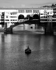 Though your eyes are dim (.KiLTRo.) Tags: kiltro it italy italia firenze florence river water bridge arno old pontevecchio city bw contrast blackandwhite boat sail architecture